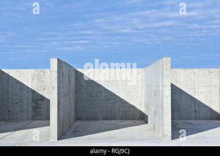 Reinforced concrete construction at the construction site. Concrete structure. - Stock Photo
