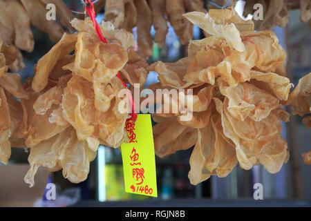 Dried Fish for Sale, Market, Tai O Fishing Village, Lantau Island, Hong Kong, China, Asia - Stock Photo