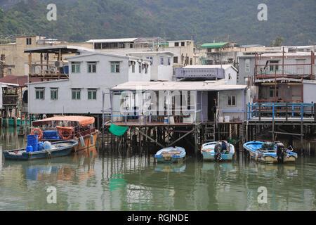 Stilt Houses, Canal, Tai O Fishing Village, Lantau Island, Hong Kong, China, Asia - Stock Photo