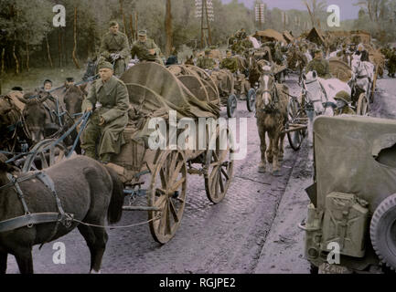 German Soldiers Riding in Carts and Wagons, Central Europe Campaign, Western Allied Invasion of Germany, 1945 - Stock Photo