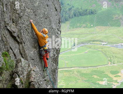 United Kingdom, Lake District, Langdale Valley, Gimmer Crag, climber on rock face - Stock Photo