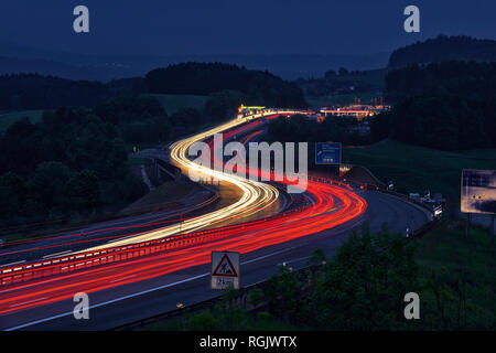 Germany, Taillights on highway - Stock Photo