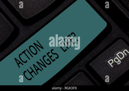 Handwriting text Action Changes Things. Concept meaning overcoming adversity by taking action on challenges Keyboard key Intention to create computer  - Stock Photo