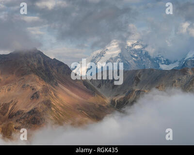 Border region Italy Switzerland, mountain landscape with snowcapped Ortler