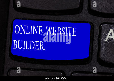 Conceptual hand writing showing Online Website Builder. Business photo text Program or tool that help you construct a website Keyboard key Intention t - Stock Photo