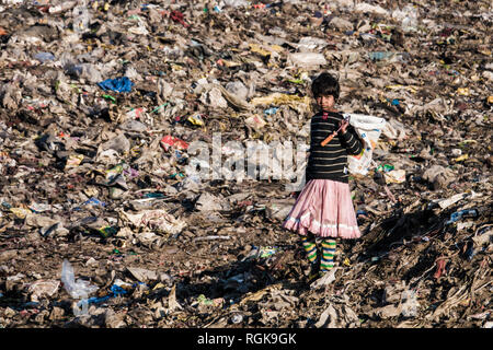 Young girl collecting recycling materials at rubbish dump in Uttarakhand, India - Stock Photo