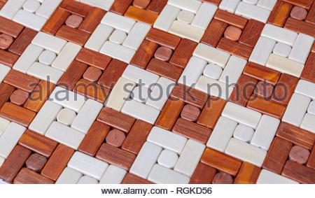 textured wooden table mat - Stock Photo