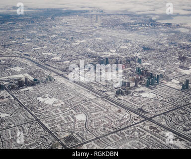 Aerial view of Downtown Mississauga and highway 403 with communities established around it - Stock Photo