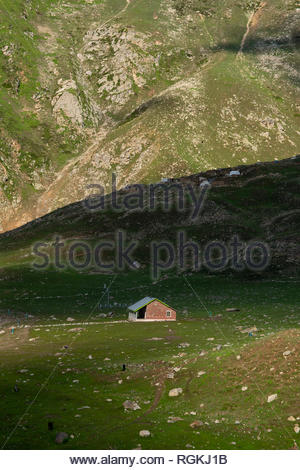 beautiful landscape a house on top of the mountains naran valley - Stock Photo