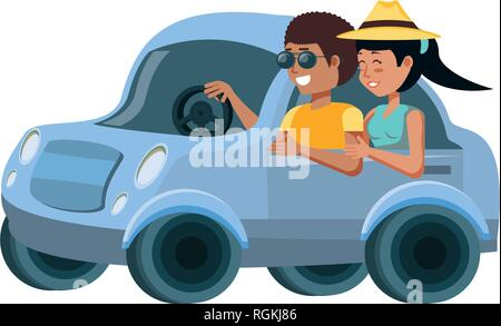 couple in car avatar character vector illustration design - Stock Photo