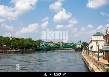 View down the Des Plaines River on a Summer afternoon.  Joliet, Illinois, USA - Stock Photo