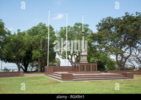 Darwin, Northern Territory, Australia-October 8,2017: War memorial at Bicentennial Park with tourists and greenery in Darwin, Australia - Stock Photo