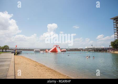 Darwin, Northern Territory, Australia-October 8,2017: People enjoying waterfront recreation in Darwin, Australia - Stock Photo
