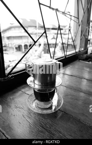 traditional vietnamese coffee in black and white - Stock Photo
