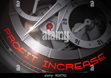 Old Pocket Watch with Profit Increase Inscription on Face. Automatic Wristwatch Machinery Macro Detail and Inscription - Profit Increase. Work Concept - Stock Photo