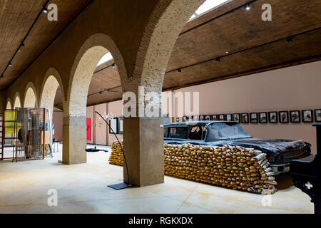 Malpartida de Caceres, Spain - August 02, 2018: Exhibition halls of the Vostell Museum with works from the collection Vostell - Stock Photo