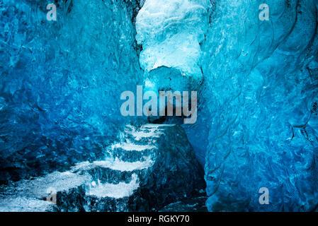 Blue Ice cave interior in Iceland on Vatnajokull Glacier - Stock Photo
