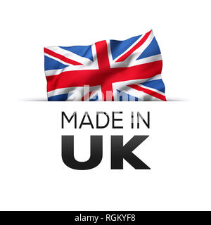 Made in UK England - Guarantee label with a waving flag of the United Kingdom. - Stock Photo