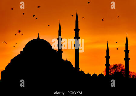 Silhouette of the Suleymaniye Mosque at sunset in Fatih, Istanbul, Turkey - Stock Photo