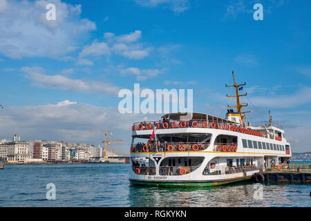 Sightseeing Boat in the Golden Horn, Istanbul, Turkey - Stock Photo