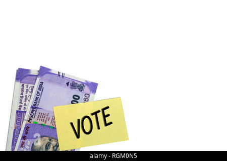 political corruption in India and concept the purchase of votes in elections on isolated background. - Stock Photo