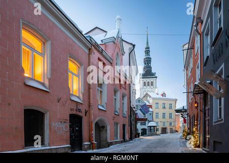 Winter dawn in Tallinn old town, Estonia. - Stock Photo