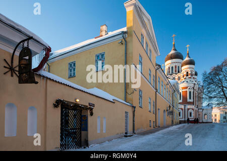 Winter evening in Tallinn, Estonia. Alexander Nevsky cathedral in the distance. - Stock Photo
