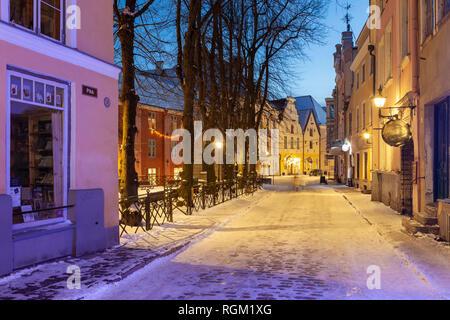 Evening in the old town of Tallinn, Estonia. - Stock Photo