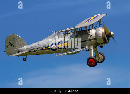 The Shuttleworth Collection's Gloster Gladiator I pictured flying in perfect conditions at Old Warden in 2013. - Stock Photo