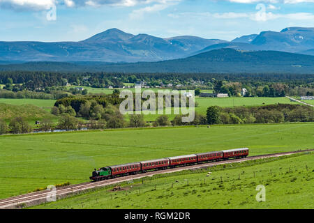 Steam engine Braeriach has arrived at Broomhill Station on the Strathspey Railway from Boat of Garten with Cairngorm mountains in the background - Stock Photo