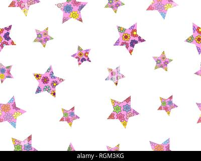Seamless pattern made from abstract stars. Stars from different spring flowers. Isolated elements on a white background. Vector hand drawing illustrat - Stock Photo