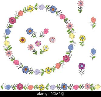 Colorful wreath from different spring flowers. Endless horizontal brush. Seamless horizontal border. Vector hand drawing illustration. - Stock Photo