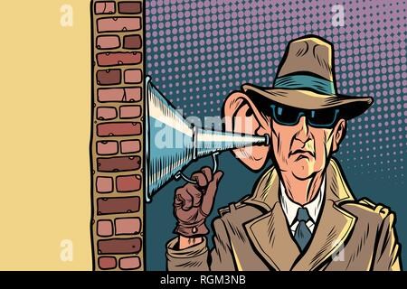 spy or secret agent of the state, wiretapping and surveillance. Comic cartoon pop art retro vector illustration hand drawing - Stock Photo