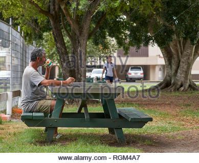 A man in shorts, singlet and sandals, sits at green picnic table under large trees drinking coffee, as a person approaches; in Cameron Park, Maclean. - Stock Photo