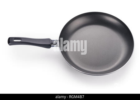 Black frying pan angle view. Isolated on white, clipping path included - Stock Photo