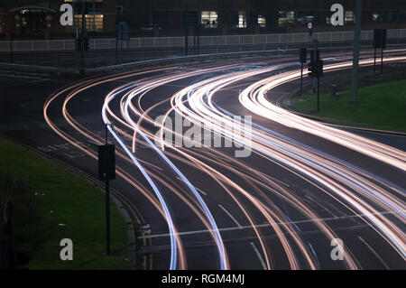A long exposure showing traffic light trails in Sheffield City Centre, South Yorkshire - Stock Photo
