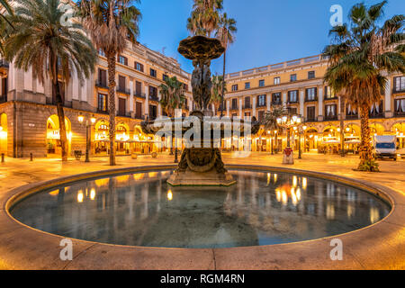 Night view of Placa Reial square or Plaza Real in the Gothic Quarter, Barcelona, Catalonia, Spain