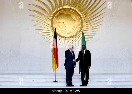 Addis Ababa, Ethiopia. 30th Jan, 2019. Federal President Frank-Walter Steinmeier (l) meets Kwesi Quartey, Deputy Chairman of the Commission of the African Union. Credit: Britta Pedersen/dpa-Zentralbild/dpa/Alamy Live News - Stock Photo