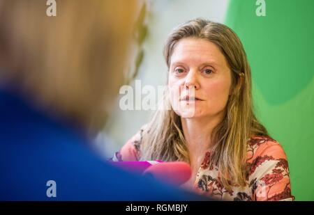 Munich, Bavaria, Germany. 30th Jan, 2019. HENRIKE HAHN, Spitzenkandidat from the Bavarian Greens for the European Parliament. The Bavarian Green Party presented Henrike Hahn, their European ParliamentSpitzenkandidat for the upcoming European elections (Europawahl). Hahn is a trained technologist and has lived previously in Detroit and Paris. Her strategies are based on ecological and social criteria and fighting against populism and right extremism. The Greens see the European Union as the greatest peace project of our time, thus they have positioned themselves against authoritarianism, - Stock Photo