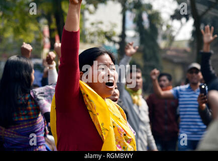 Guwahati, Assam, India. 30th January, 2019. Ranjan Daimary sentenced to life imprisonment. Guwahati, Assam, India. Wednesday, January 30, 2019. Supporters of National Democratic Front of Bodoland (NDFB) shout slogans during a protest after their leader Ranjan Daimary was sentenced to life imprisonment by a court. PHOTO: David Talukdar. Credit: David Talukdar/Alamy Live News - Stock Photo
