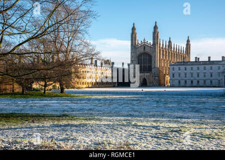 Cambridge, UK. 30th Jan, 2019. King's College, Cambridge after overnight snow, Cambridge, UK. 30th Jan, 2019. UK Weather Credit: Alan Copson City Pictures/Alamy Live News - Stock Photo