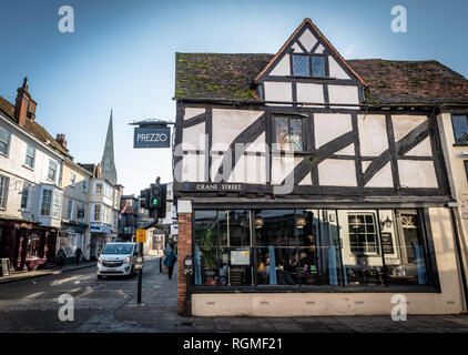 Salisbury, Wiltshire, UK. 30th January 2019. The Prezzo is now re-opened after closing for many months due to the Novichok attack on Sergei and Yulia Skripal. The streets of Salisbury are quieter than normal as the aftermath of the Novichok attacks affects visitor numbers. Credit: Thomas Faull/Alamy Live News - Stock Photo