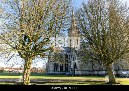 Salisbury, Wiltshire, UK. 30th January 2019. A funeral takes place at Salisbury cathedral. Salisbury is quieter than normal as the aftermath of the Novichok attacks affects visitor numbers. Credit: Thomas Faull/Alamy Live News - Stock Photo