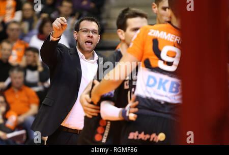 Berlin, Germany. 30th Jan, 2019. Volleyball, Men: Champions League, Berlin Volleys - Lotos Trefl Danzig, 4th round, Group D, 4th matchday. Berlin coach Cedric Enard gives instructions. Credit: Andreas Gora/dpa/Alamy Live News - Stock Photo