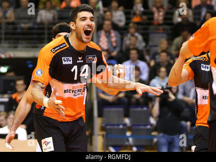 Berlin, Germany. 30th Jan, 2019. Volleyball, Men: Champions League, Berlin Volleys - Lotos Trefl Danzig, 4th round, Group D, 4th matchday. The Berliner Nicolas Le Goff is happy about a won point. Credit: Andreas Gora/dpa/Alamy Live News - Stock Photo