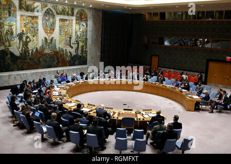 United Nations, New York, USA. 30th Jan, 2019. Photo taken on Jan. 30, 2019 shows the United Nations, New York, USA Security Council holding a meeting on the situation in Syria, at the UN headquarters in New York. Credit: Li Muzi/Xinhua/Alamy Live News - Stock Photo