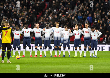 London, UK. 30th Jan, 2019. Pray for Sala during the Premier League match between Tottenham Hotspur and Watford at Wembley Stadium, London, England on 30 January 2019. Photo by Adamo Di Loreto. Editorial use only, license required for commercial use. No use in betting, games or a single club/league/player publications. Credit: UK Sports Pics Ltd/Alamy Live News - Stock Photo