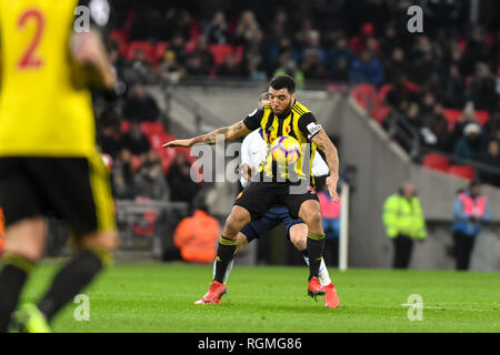 London, UK. 30th Jan, 2019. Troy Deeney of Watford during the Premier League match between Tottenham Hotspur and Watford at Wembley Stadium, London, England on 30 January 2019. Photo by Adamo Di Loreto. Editorial use only, license required for commercial use. No use in betting, games or a single club/league/player publications. Credit: UK Sports Pics Ltd/Alamy Live News - Stock Photo