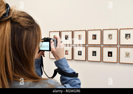 London, UK. 30th Jan, 2019. Bastian gallery presents Andy Warhol Polaroid Pictures, the inaugural exhibition at the gallery's London space running 2 February to 13 April 2019, a series of over 60 portrait and self-portrait Polaroid photographs by Andy Warhol, some of which are exhibited for the first time, depict artists, actors, politicians and friends of his eccentric Factory entourage. Credit: Nils Jorgensen/Alamy Live News - Stock Photo