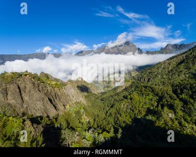 Reunion, Cilaos, Cirque de Cilaos, Piton des Neiges, Gros Morne, Aerial view - Stock Photo